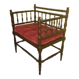 Antique Wood Spindle Bench