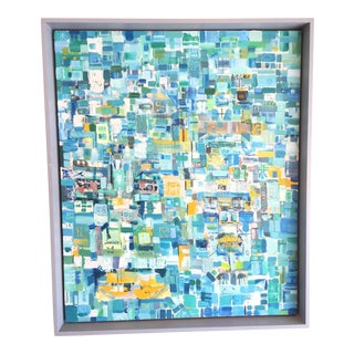 Abstract Cubist Blue Painting