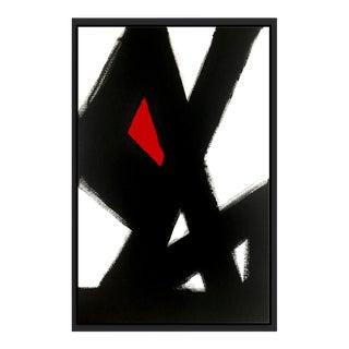 'Black Slash No. 4' Red Framed Print