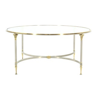 Round Gl Br And Pewter Coffee Table