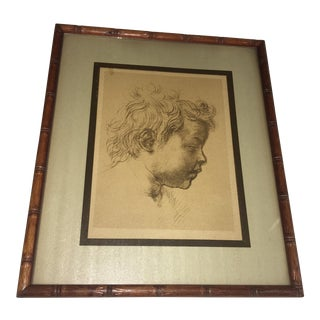 Classical Child 's Head Drawing Print
