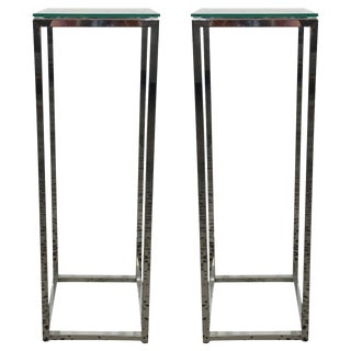 Contemporary Chrome Plated Glass Top Stands - A Pair
