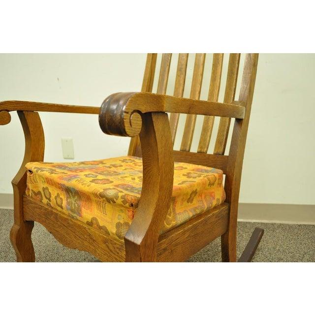 Antique Mission Arts & Crafts Carved Solid Oak Rocking Lounge Chair - Image 4 of 11