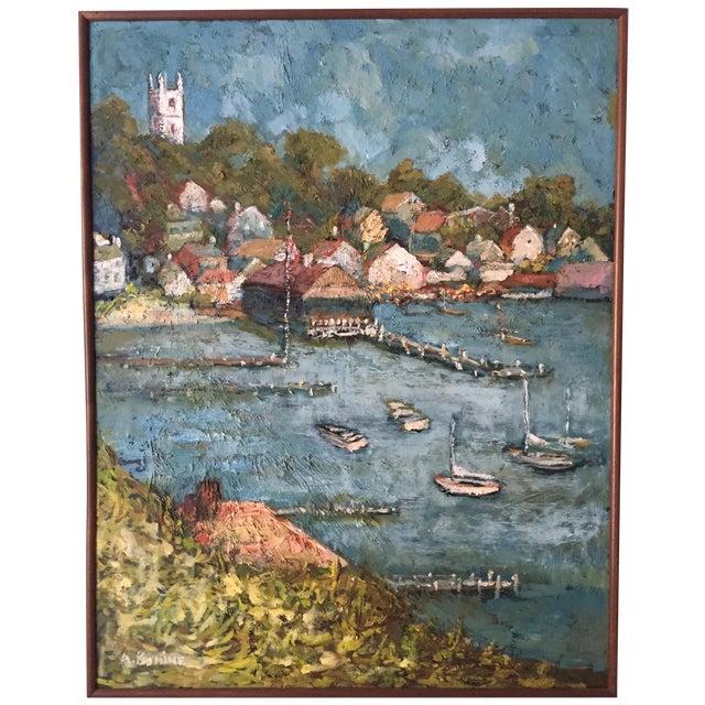 Martha's Vineyard Edgartown Harbor 1930 Oil - Image 1 of 6