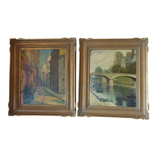 Scenes of Paris Oil Paintings - A Pair
