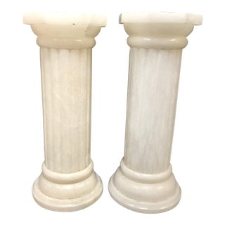 Alabaster Floor Lamps in Pedestal Shape - A Pair