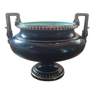 Sarreguemines Majolica Handled Urn