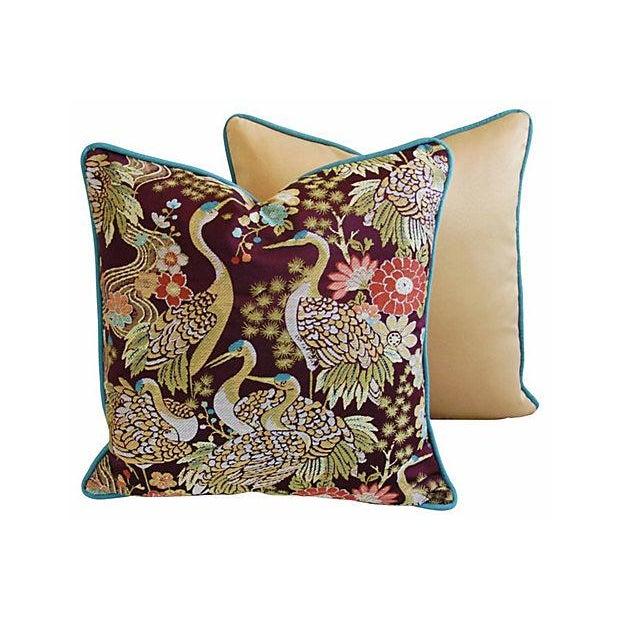 Designer Embroidered Crane Pillows - Pair - Image 6 of 8