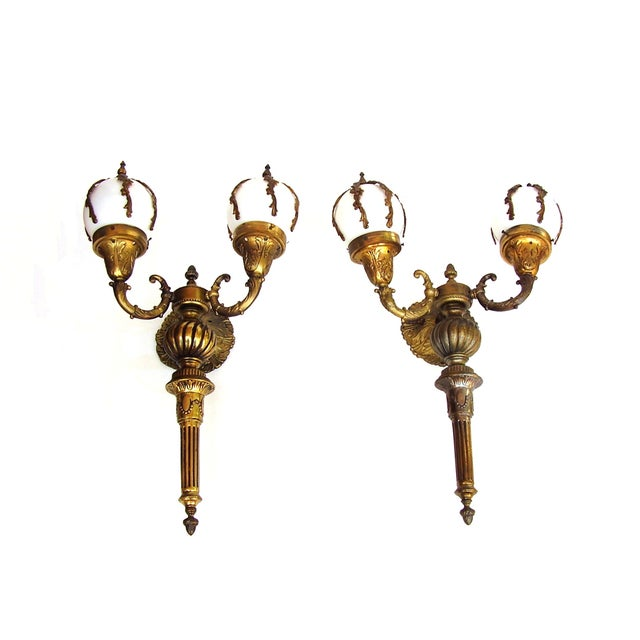 Antique Wall Sconce French Lamps Bronze - A Pair - Image 1 of 5