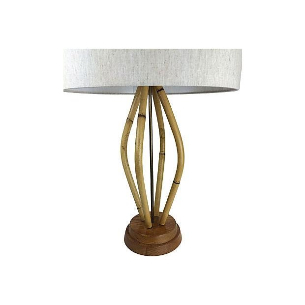 Vintage 1950s Bamboo Table Lamp