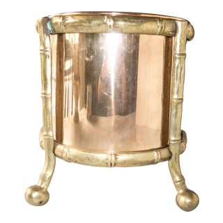 Brass and Copper Bamboo Ice Bucket