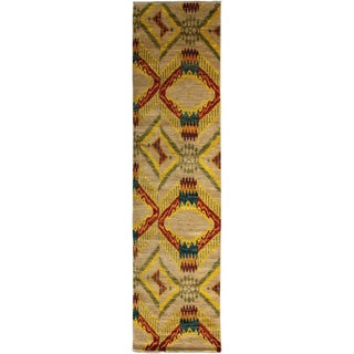 """Ikat, Hand Knotted Runner Rug - 2' 8"""" x 10' 5"""""""