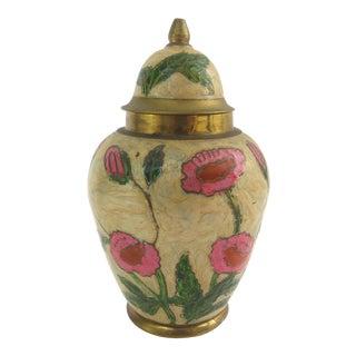 Vintage Brass Cloisonne Ginger Jar