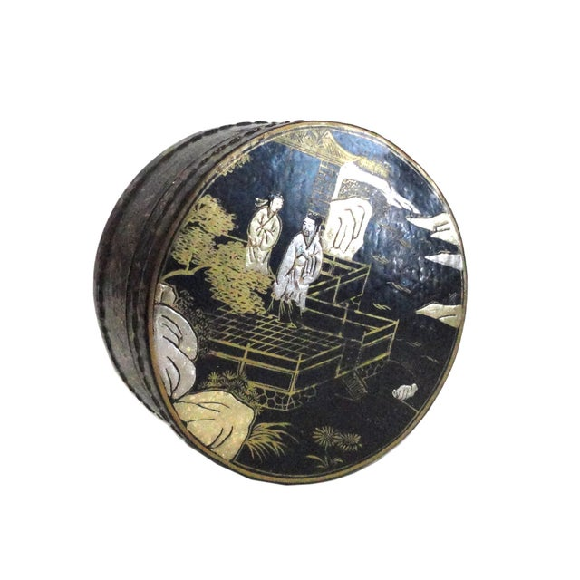 Chinese Black Lacquer Scenery Round Box - Image 1 of 5