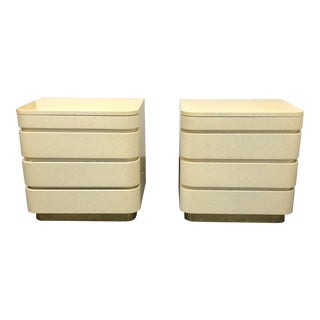 Mid-Century Faux Bone Clad Nightstands - a Pair