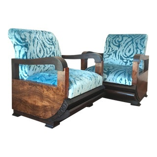 Espectacular Blue Velvet Art Deco Armchair - Pair