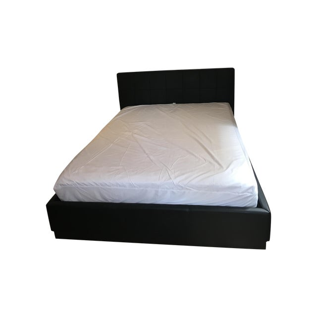 Image of Modani Black Leather Caravan Storage Bed