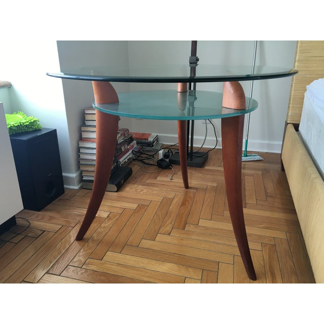 Architectural Design Wood & Glass Side Table - Image 8 of 8