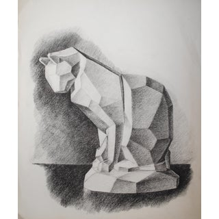 Mid-Century Cubist Cat Charcoal Drawing