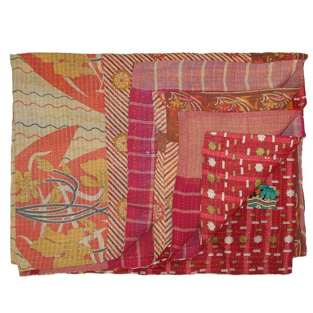 Vintage Red Kantha Quilt - Image 1 of 2