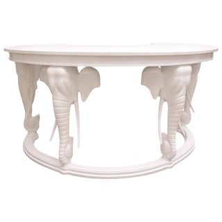 Hollywood-Regency Style White Lacquered Kidney-Shaped Desk, Gampel Stoll