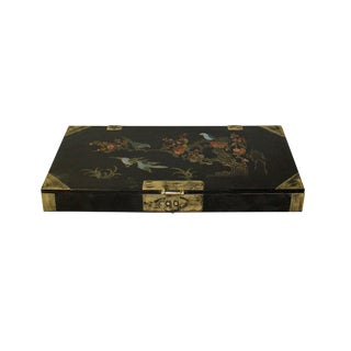 Chinese Black Lacquer Flower Bird Graphic Rectangular Display Box