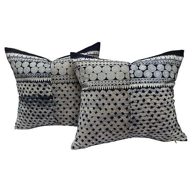 Tribal Indigo Batik Pillows - Pair - Image 1 of 6