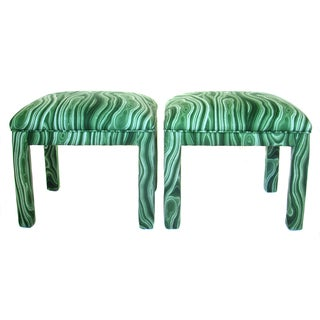 Malachite Parsons Benches - A Pair