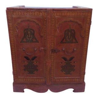 Red Leather Two Door Cabinet