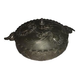 Vintage Art Nouveau Floral Pewter Dish