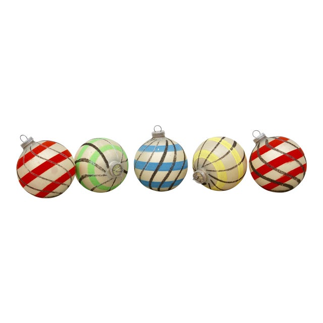 Striped West German Christmas Ornaments - Set of 5 - Image 1 of 11