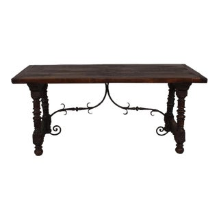Antique Spanish Baroque Style Stained Oak Trestle Table