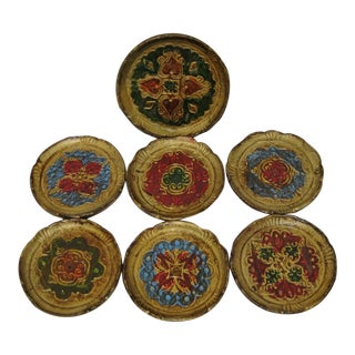 Vintage Florentine Coasters, Set of 7