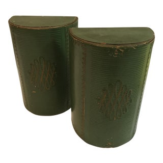 Vintage Green Leather Bookends - A Pair