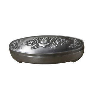 Pewter Oval Shape Jewelry Storage Box