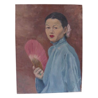 Vintage Chinoiserie Oil Portrait on Canvas
