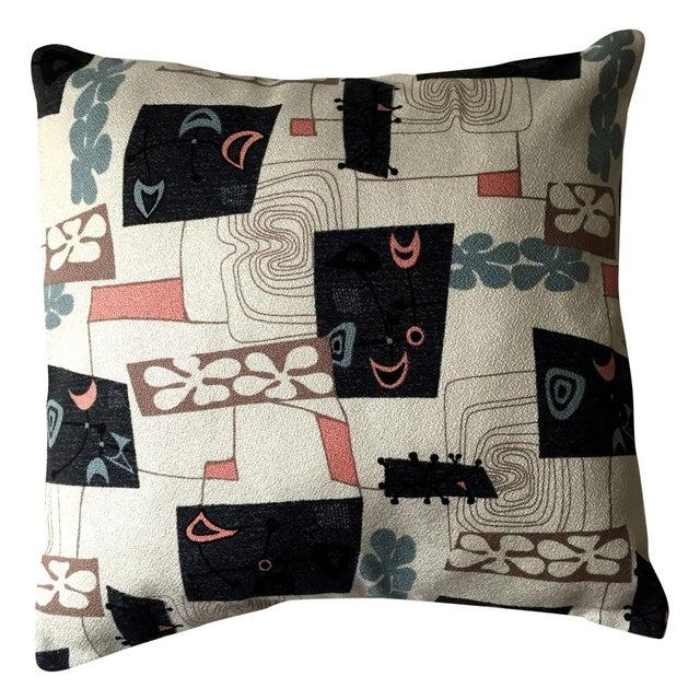 Mid-Century Modern Atomic Barkcloth Pillow - Image 1 of 4