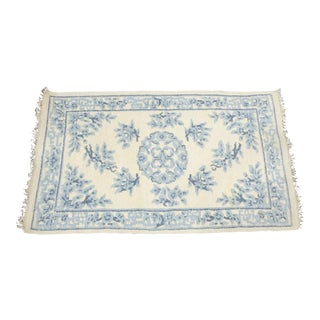 Hand Woven Blue & White Accent Rug - 3′1″ × 5′4″