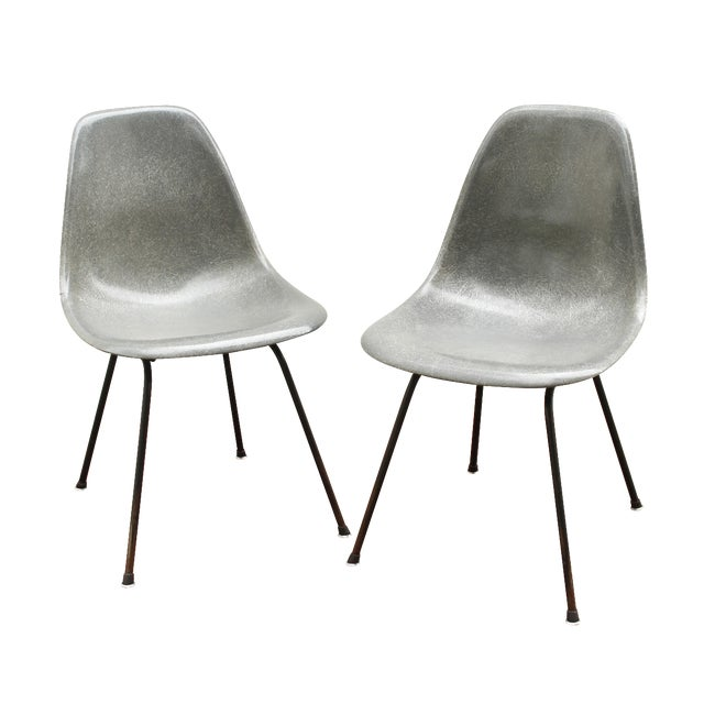 Gray Eames Fiberglass Shell Chairs - A Pair - Image 1 of 10