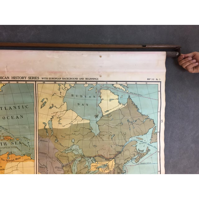 Image of Vintage North & South America Pull Down Wall Map - Early Paper on Linen