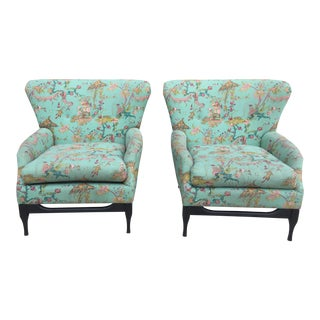Mid-Century Modern Chinoiserie Wingback Chairs - A Pair