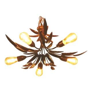 Vintage Italian Tole Palm Leaf Chandelier