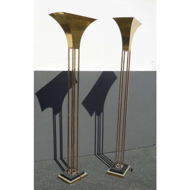 Mid-Century Art Deco Brass Plated Torchiere Floor Lamps - a Pair - Image 5 of 11