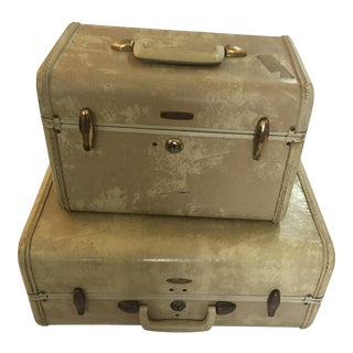 Vintage Samsonite Suitcase & Cosmetics Case- Set of 2