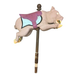 Antique Carousel Ride Wooden Pig
