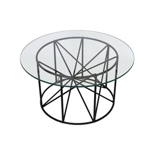 Black Steel Spokes Sculptural Glass Coffee Table - Image 1 of 9