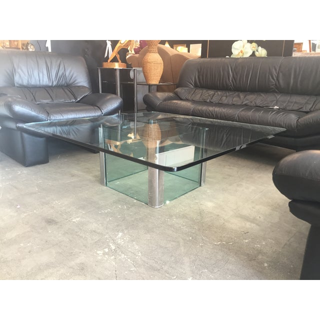 Modern Glass & Chrome Coffee Table - Image 4 of 9