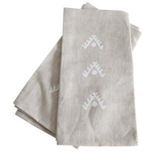 Geometric Brown Linen Napkins- Pair