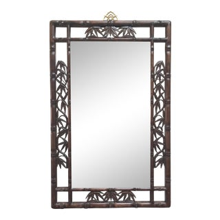 Faux Bamboo Carved Wood Mirror