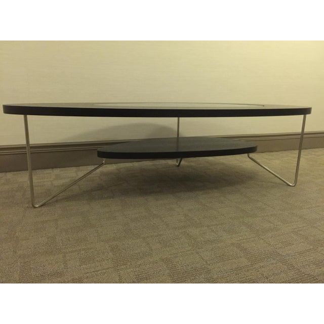 Modern Oval Wood & Glass Coffee Table